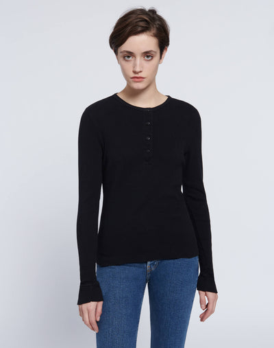 60s Slim Henley Long Sleeve - Black