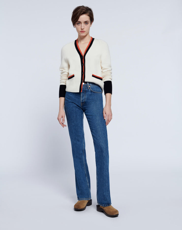 60s Slim Cardigan - Ivory with Contrast