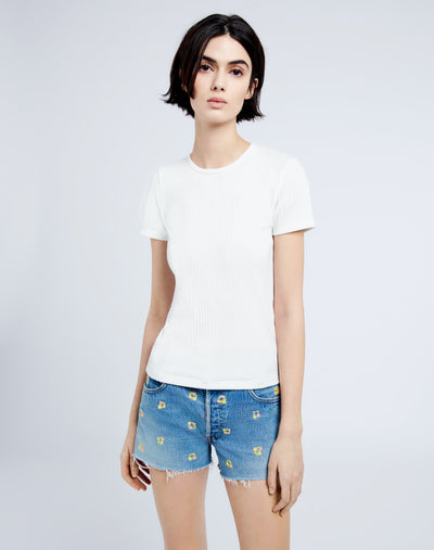60s Ribbed Short Sleeve Tee - Off White