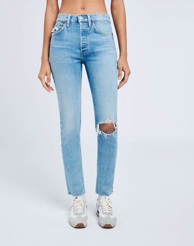 Ultra Stretch High Rise Ankle Crop - Worn Bright Blue