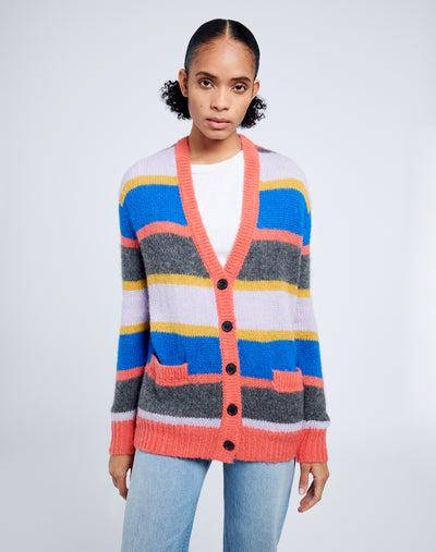 90s Oversized Cardigan - Multi Stripe