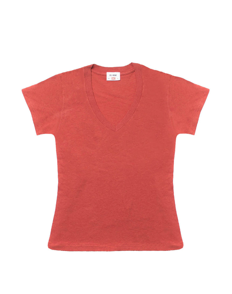 67940a08f046 The 1960s Slim V Neck Tee - Vintage Red – RE DONE