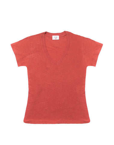 The 1960s Slim V Neck Tee - Vintage Red