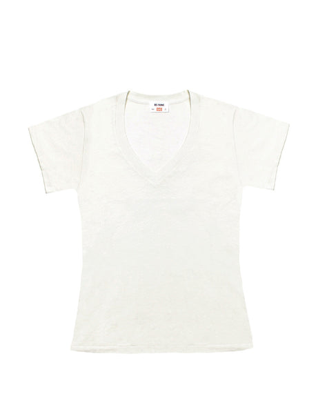 The 1960s Slim V Neck Tee - Vintage White