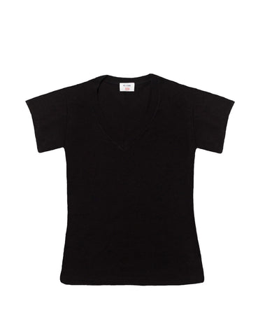 The 1960s Slim V Neck Tee - Black