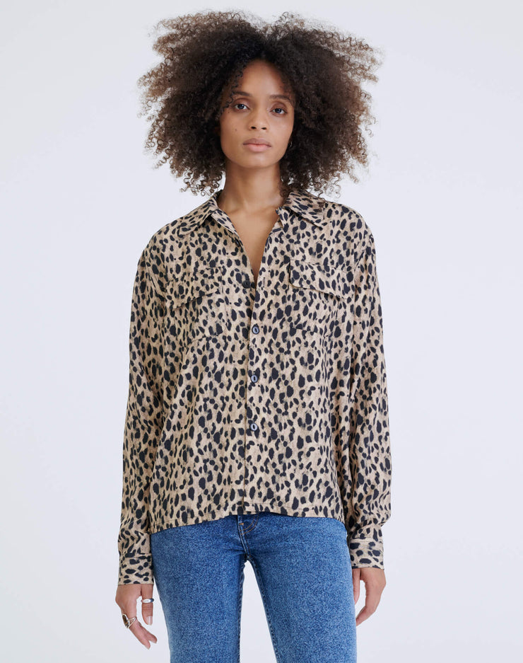 40s Two Pocket Shirt - Cheetah Print