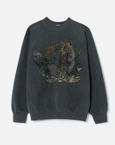 Upcycled Animal Sweatshirt - Heather Black