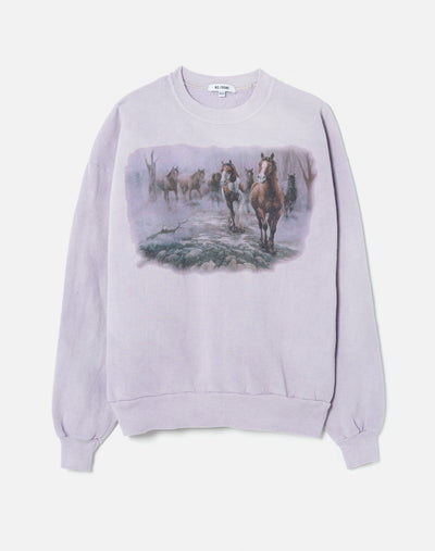 Upcycled Animal Sweatshirt - Heather Lilac