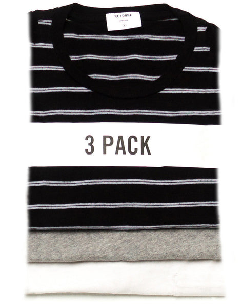 Assorted 3 Pack – Vintage White Boyfriend, Black Striped Boxy, & Heather Slim