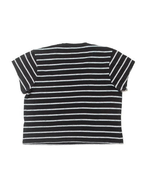 1950's Striped Boxy Crop Tee - Black