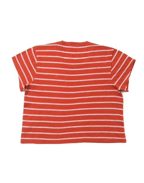 1950's Striped Boxy Crop Tee - Vintage Red