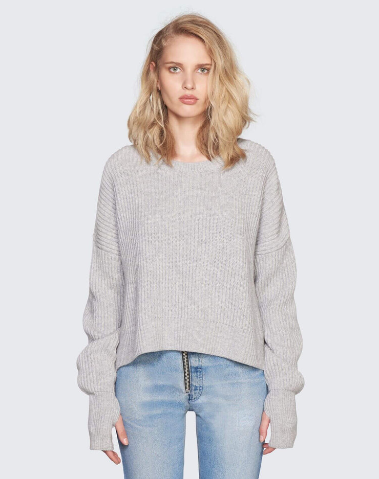 Cashmere Crop Sweater | Heather Grey | 450-7WCES | 1