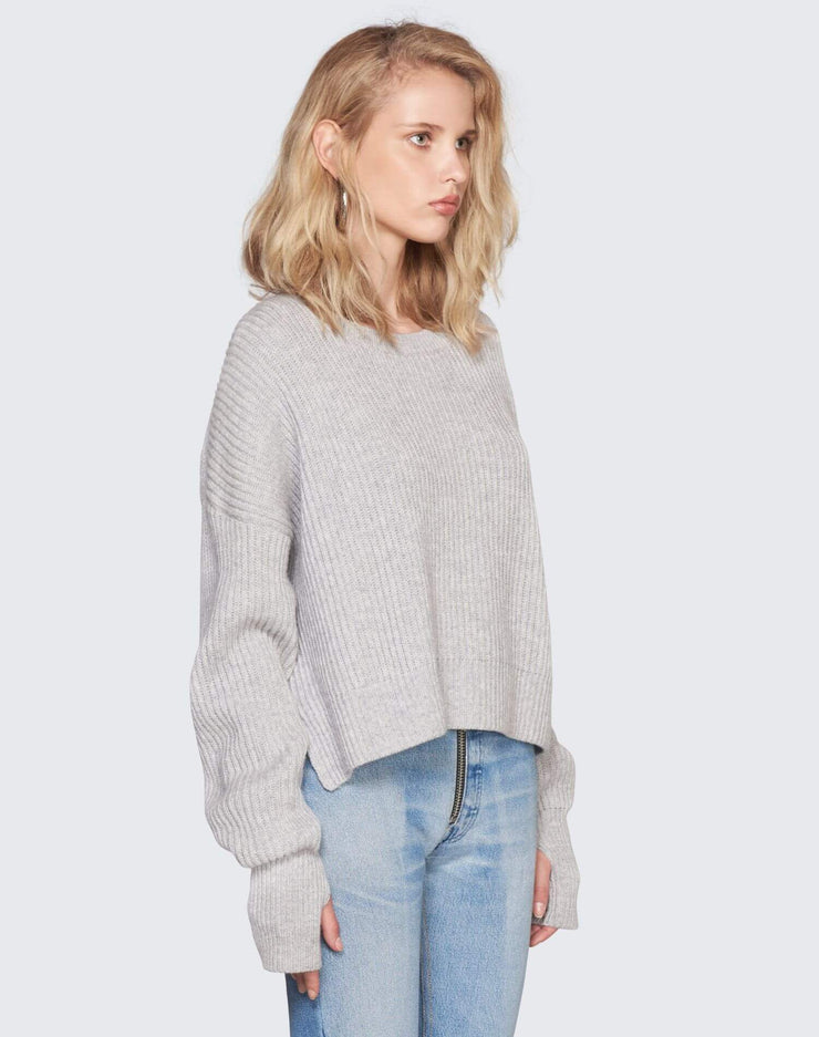 Cashmere Crop Sweater | Heather Grey | 450-7WCES | 3