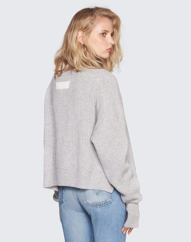 Cashmere Crop Sweater | Heather Grey | 450-7WCES | 4