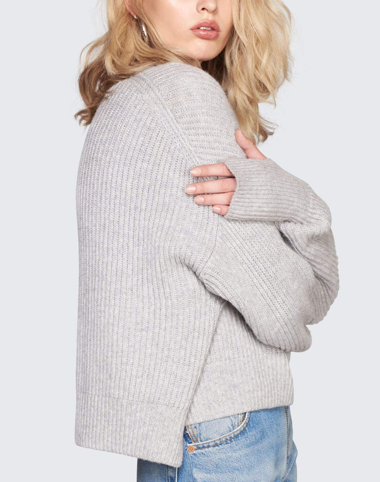 Cashmere Crop Sweater | Heather Grey | 450-7WCES | 5