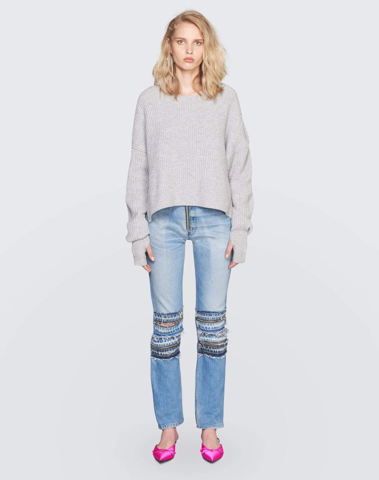 Cashmere Crop Sweater | Heather Grey | 450-7WCES | 2