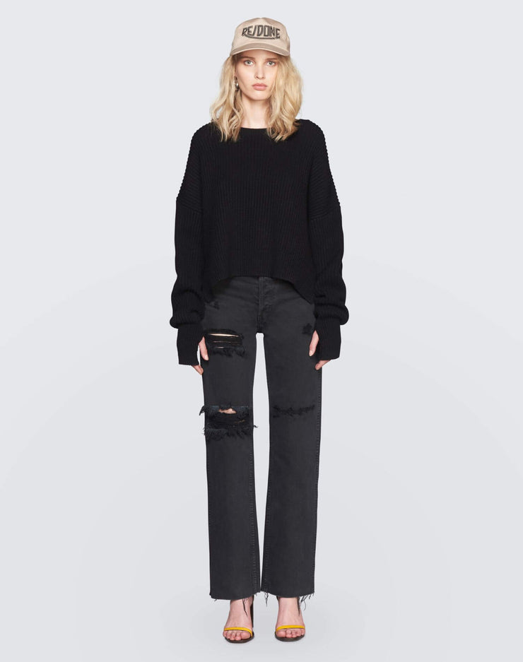 Cashmere Crop Sweater | Black | 450-7WCES | 2
