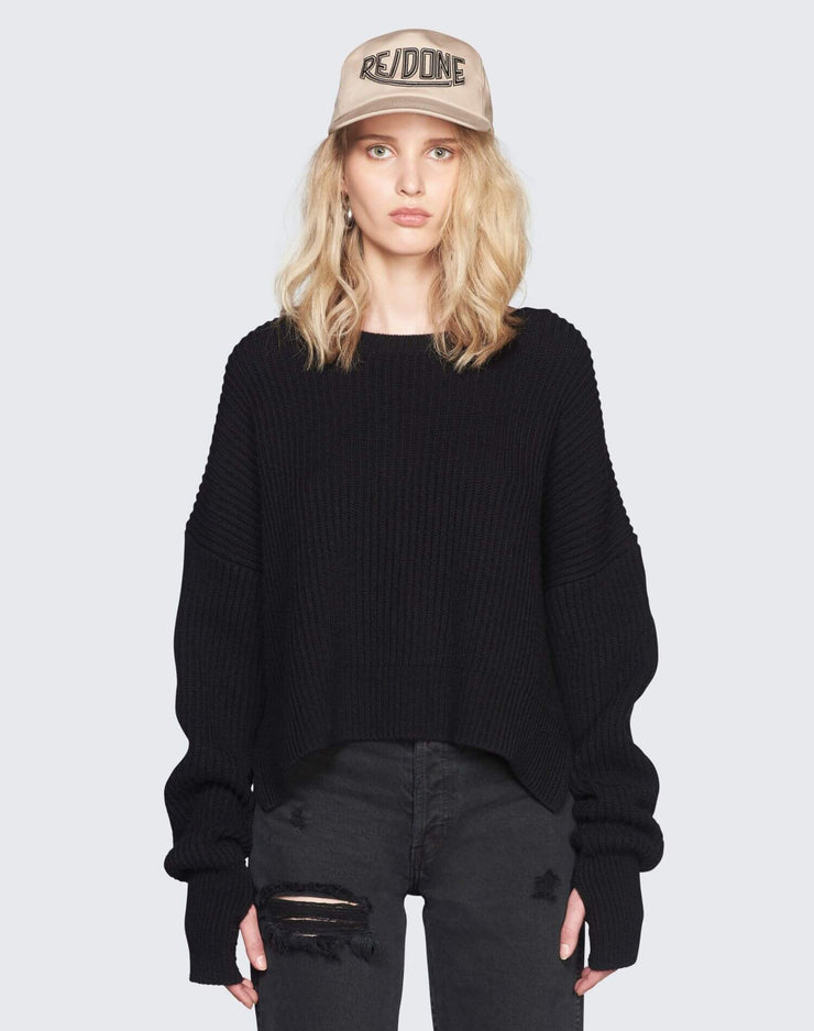 Cashmere Crop Sweater | Black | 450-7WCES | 1