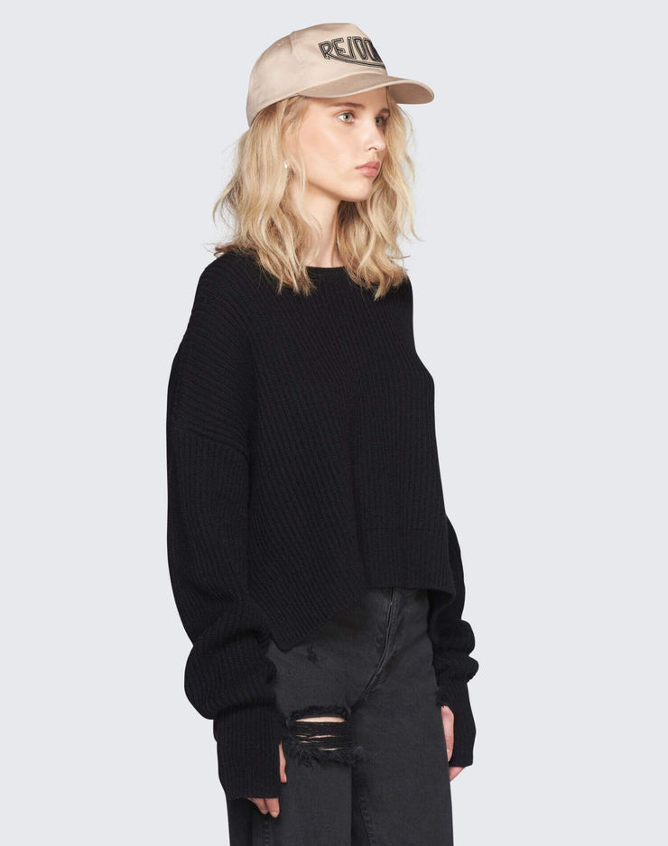 Cashmere Crop Sweater | Black | 450-7WCES | 4