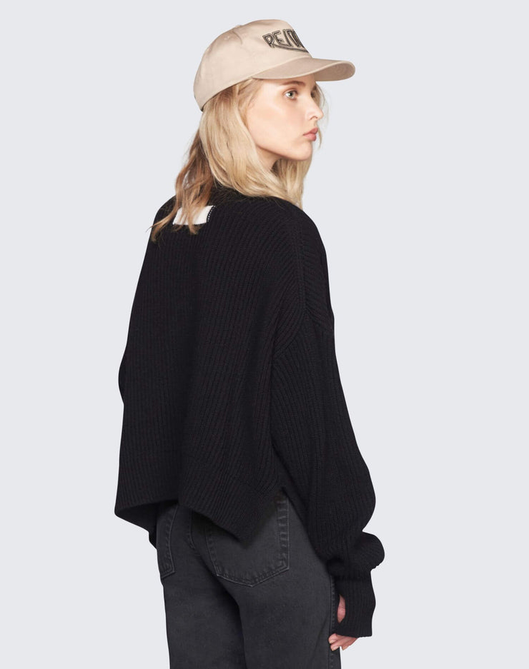 Cashmere Crop Sweater | Black | 450-7WCES | 5