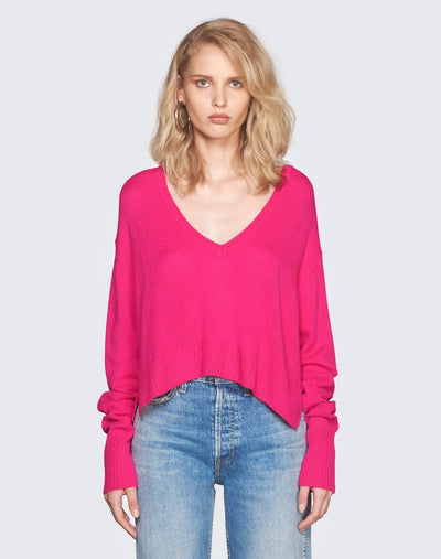 Cashmere V Neck Sweater | Fushia | 450-7WCVS | 1