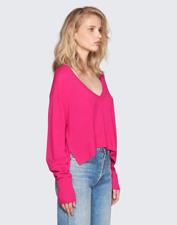Cashmere V Neck Sweater | Fushia | 450-7WCVS | 3