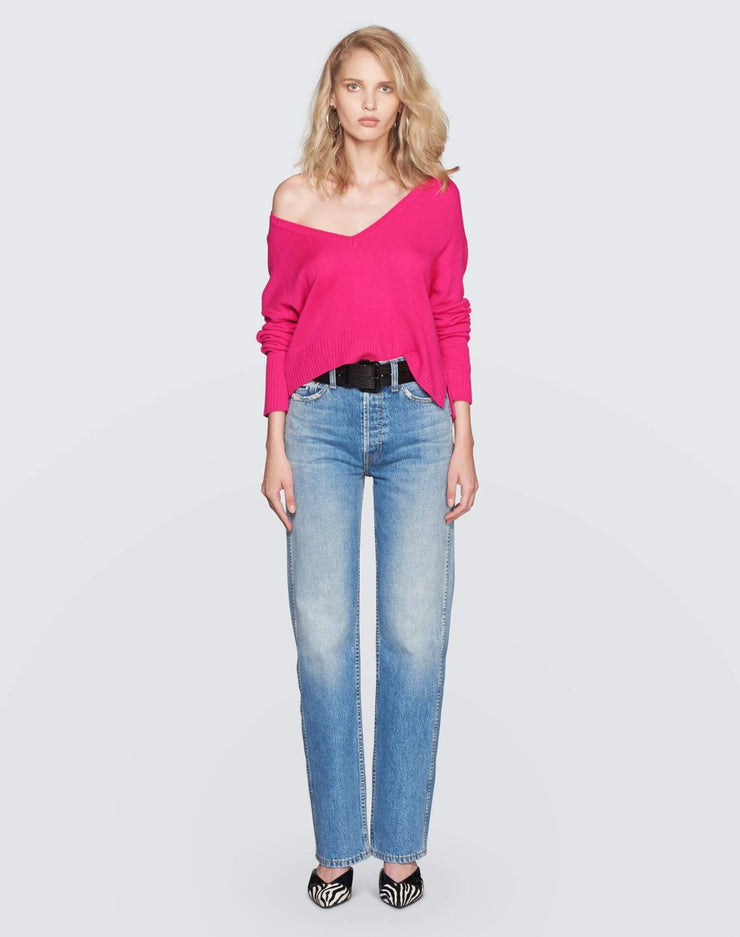 Cashmere V Neck Sweater | Fushia | 450-7WCVS | 2