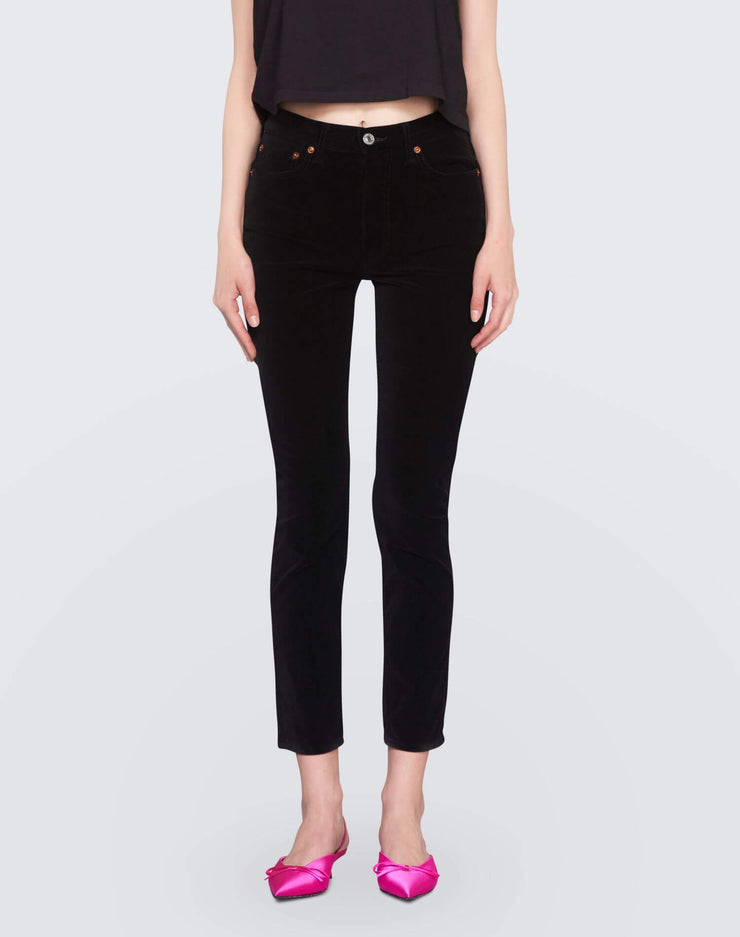Velvet High Rise Ankle Crop | Black | 710-3WHRAC | 1