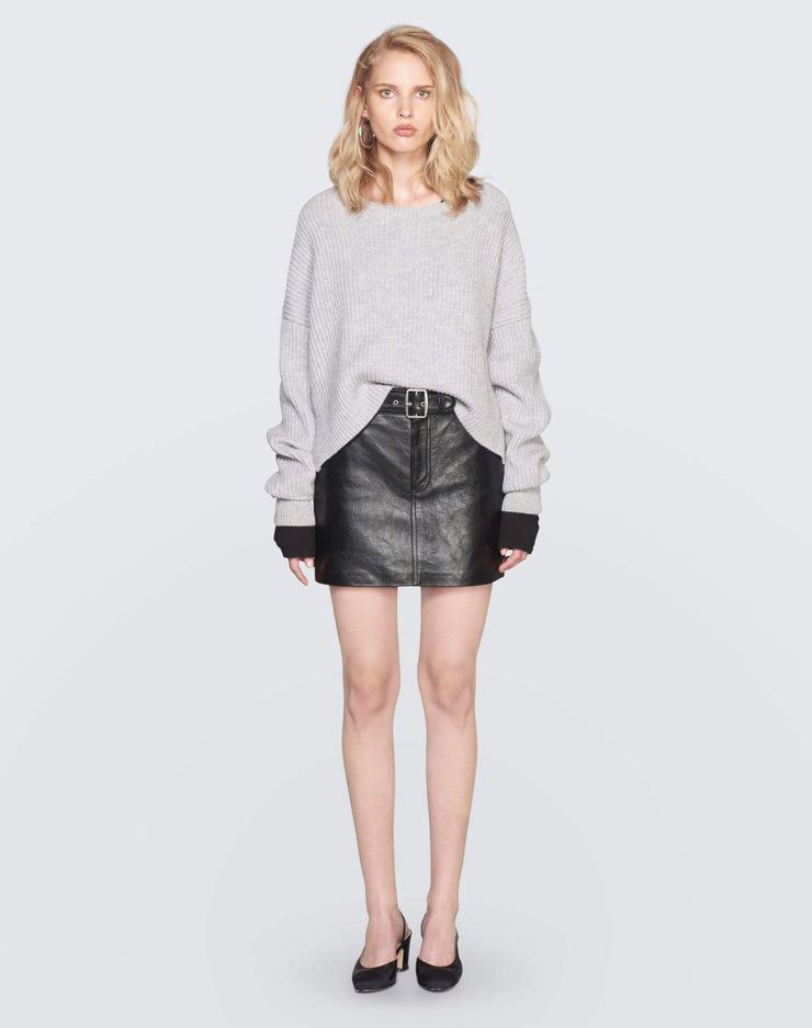 The Leather Buckle Skirt | Black | 200-10WLBS | 2