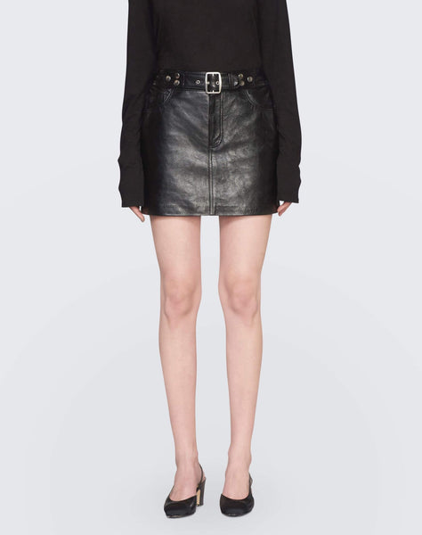 The Leather Buckle Skirt - Black