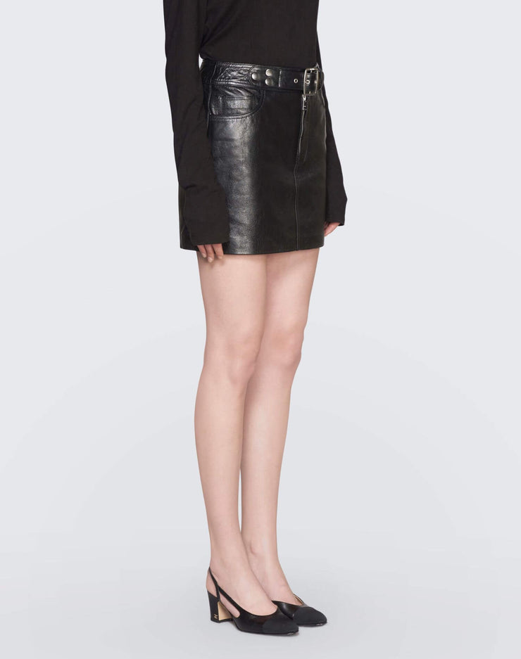 The Leather Buckle Skirt | Black | 200-10WLBS | 3
