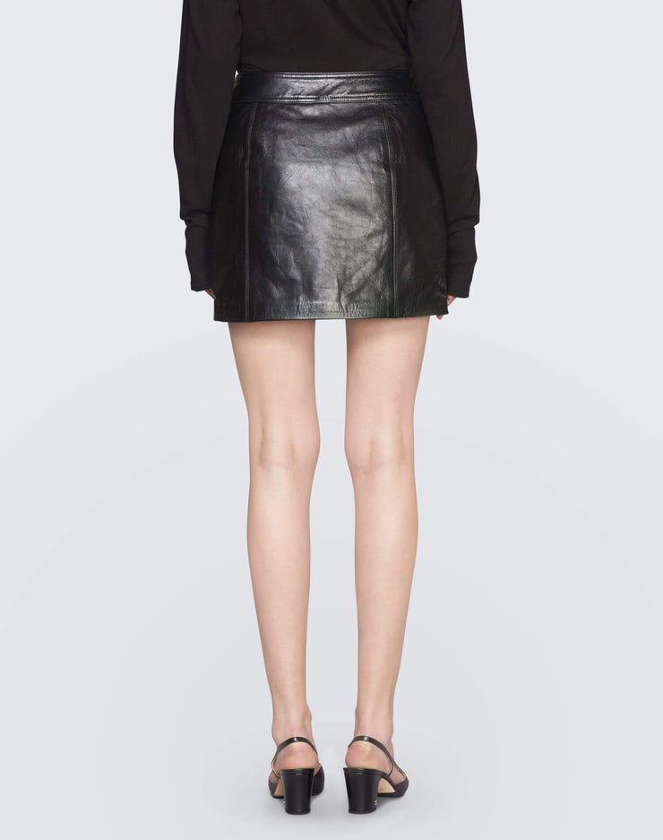 The Leather Buckle Skirt | Black | 200-10WLBS | 4