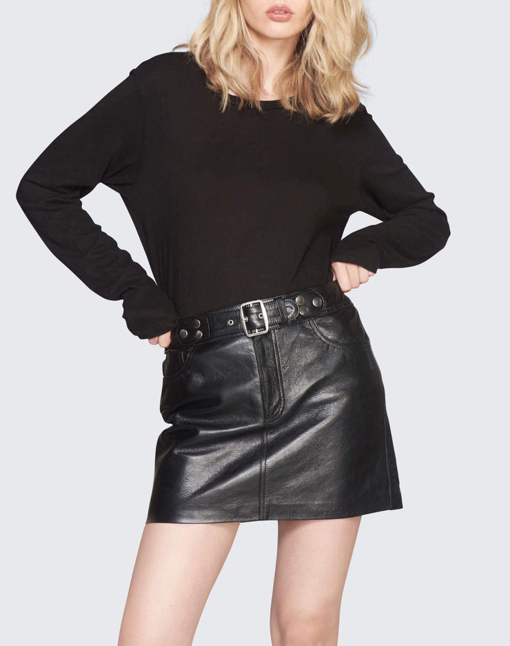 The Leather Buckle Skirt | Black | 200-10WLBS | 5