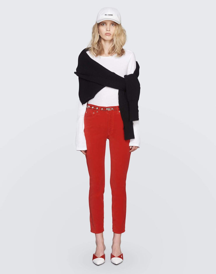 Velvet High Rise Ankle Crop | Red | 710-3WHRAC | 2