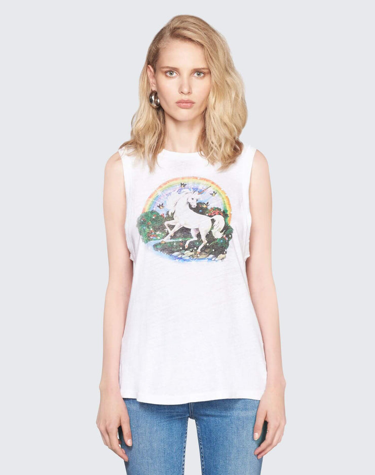 Unicorn Dream Graphic Muscle Tee | Vintage White | 024-2WMT114 | 1
