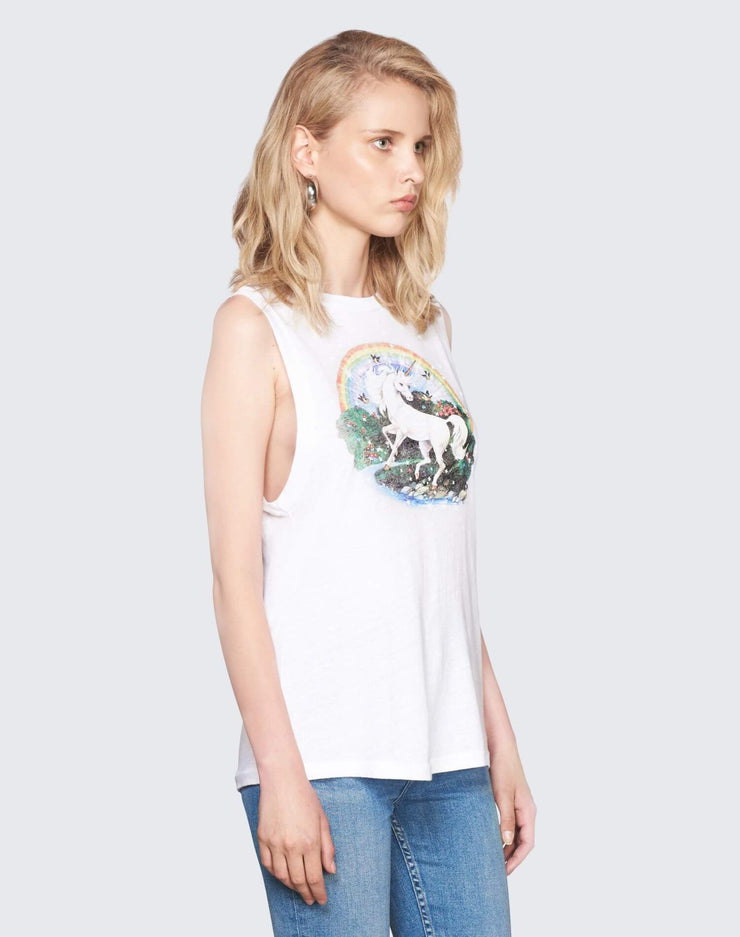 Unicorn Dream Graphic Muscle Tee | Vintage White | 024-2WMT114 | 3