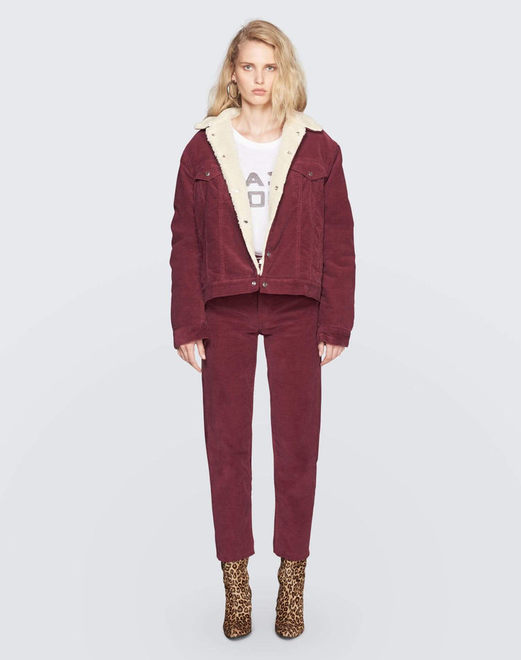 Oversized Sherpa Trucker Jacket | Burgundy | 502-4WCOT | 2