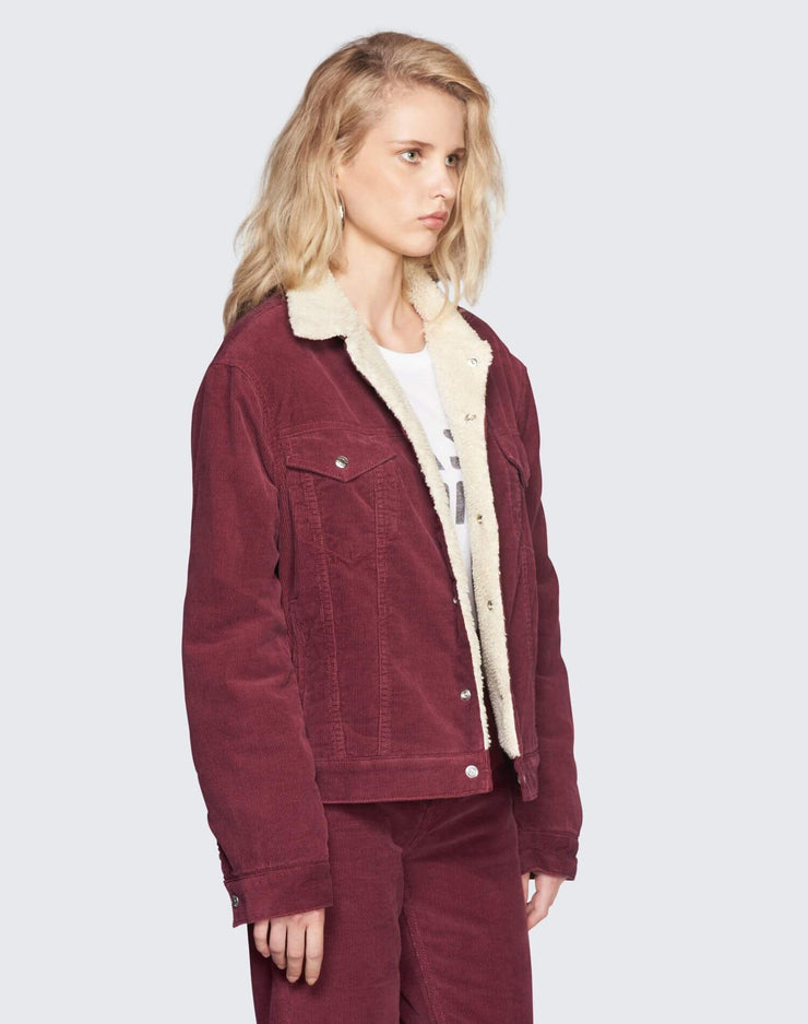 Oversized Sherpa Trucker Jacket | Burgundy | 502-4WCOT | 3