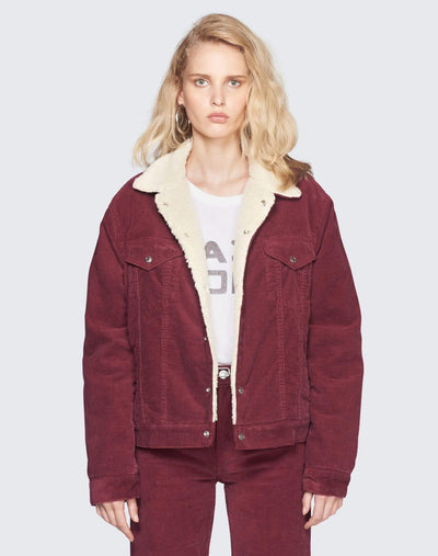 Oversized Sherpa Trucker Jacket | Burgundy | 502-4WCOT | 1