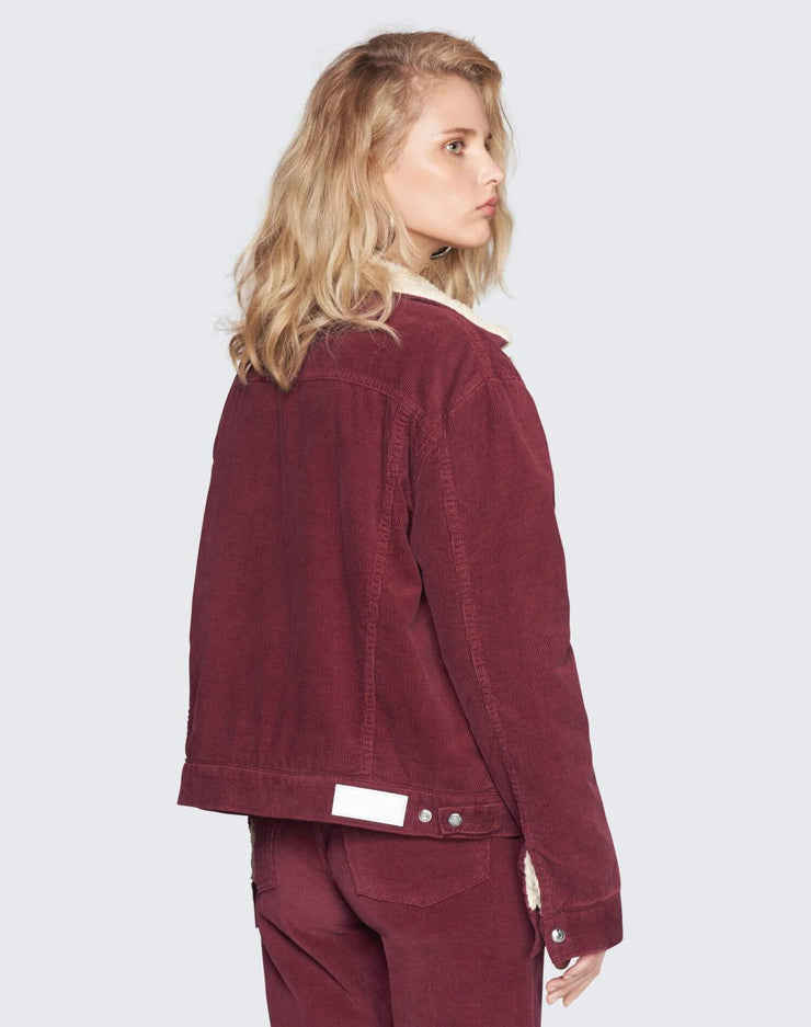 Oversized Sherpa Trucker Jacket | Burgundy | 502-4WCOT | 4