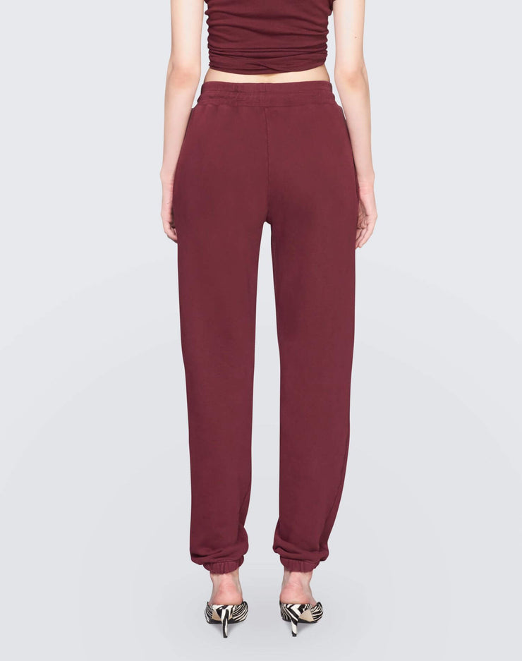 The Sweatpant w/ Embroidery | Burgundy | 010-5WSPTE | 4