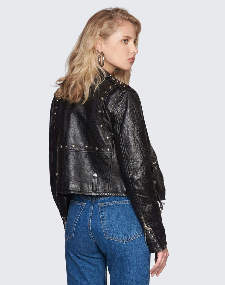 The Studded Leather Moto Jacket | Black | 200-4WPJCKT2 | 4