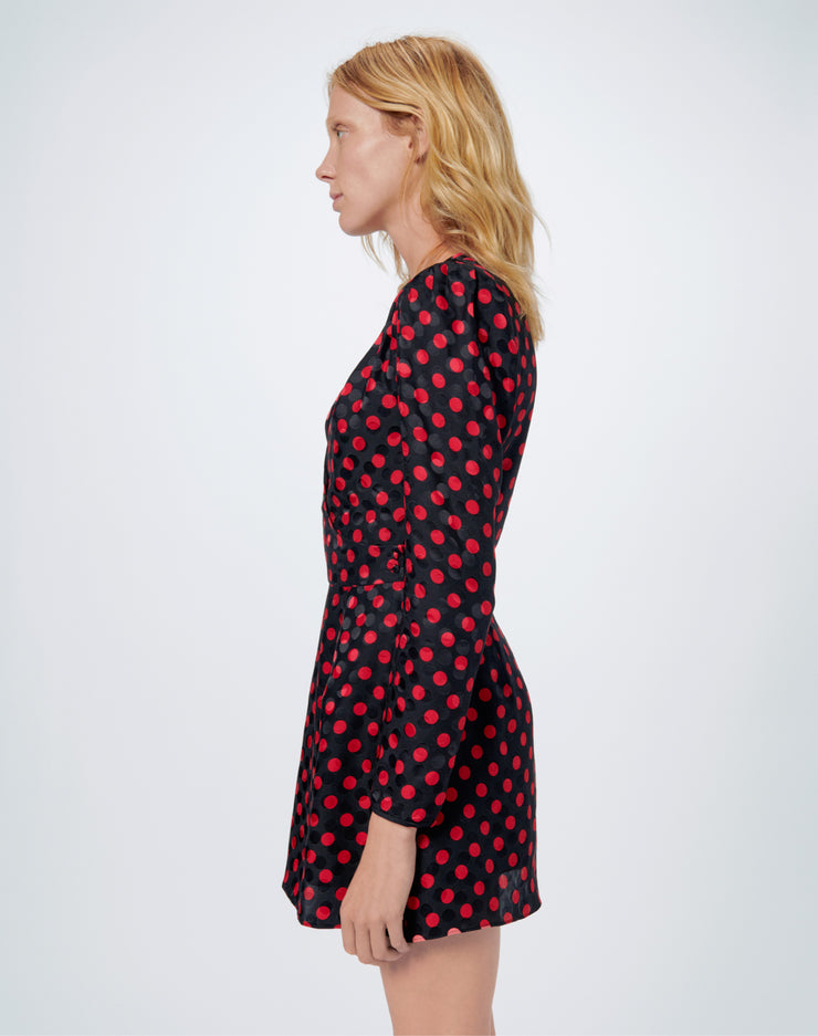 80s Wrap Dress - Red Polka Dot