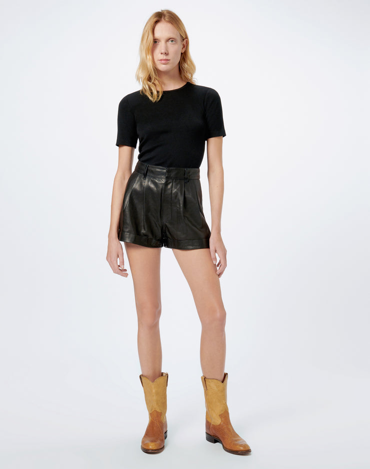 80s Leather Pleated Short - Black