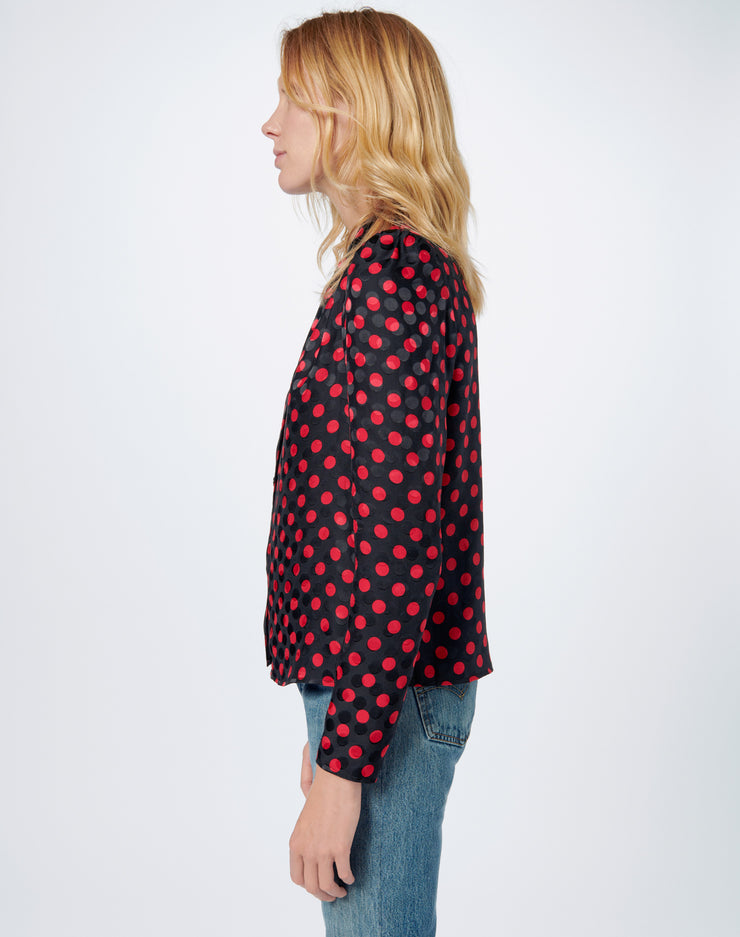 40s Tailored  Blouse - Red Polka Dot