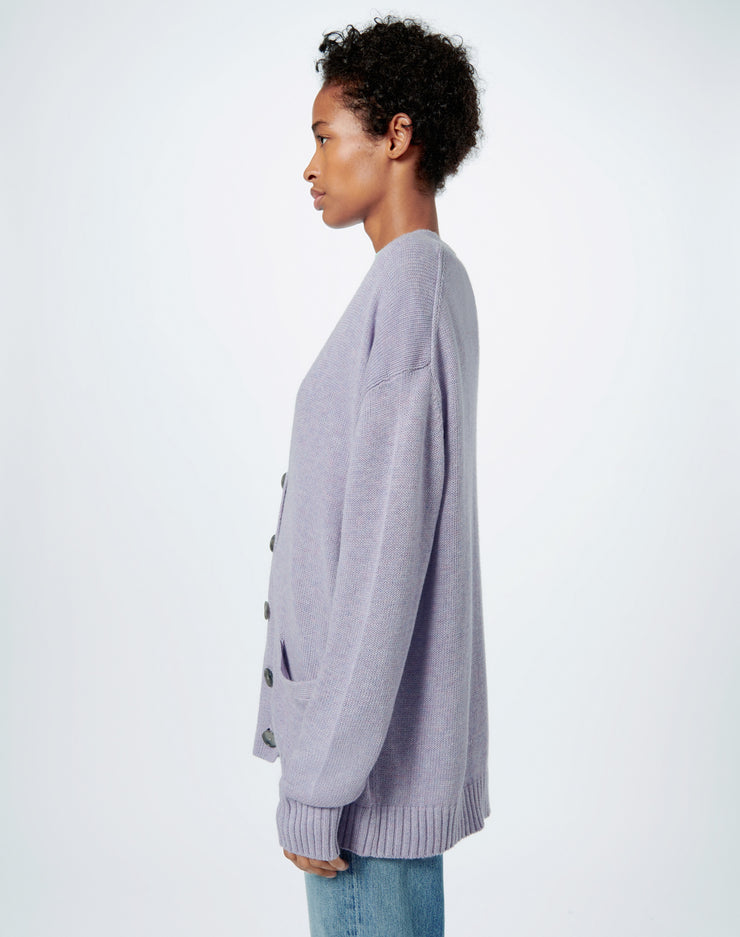 90s Oversized Cardigan - Heather Lilac
