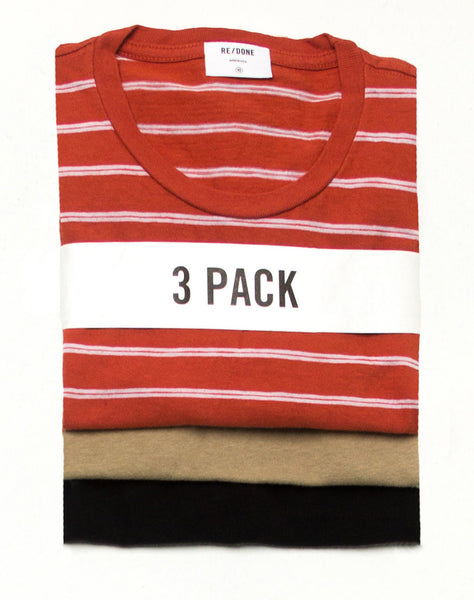 Boxy 3 Pack – Black, Sand, & Striped Vintage Red