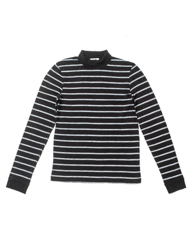 1960's Striped Slim Turtleneck - Black