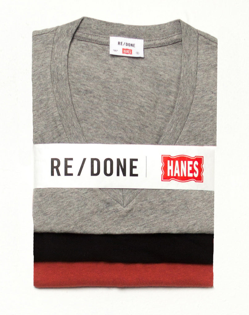 Hanes Slim V Neck 3 Pack – Black, Vintage Red, & Heather Grey