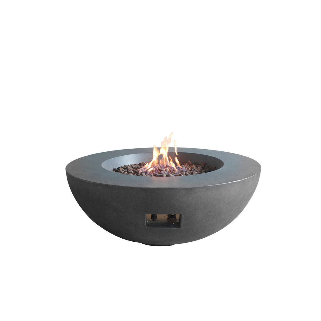 Elements Concrete Fire Pit (Round) - Natural Gas - Dark Gray